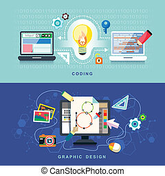 Flat design for graphics design and coding.