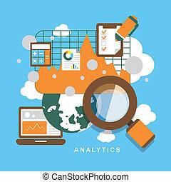 Flat design icon set of analytics elements.