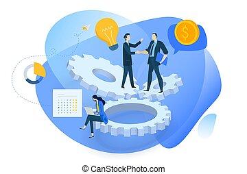 Flat Design Konzept von der Idee bis zur Realisierung, Massenfinanzierung, Produktentwicklung.