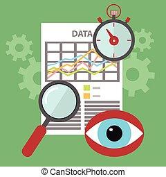 Flat design moderne Vektorgrafik Icons Satz der Suche, Website SEO Optimierung, Programmierprozess und Web-Analytics Elemente. Isoliert auf stilvoll gefärbtem Hintergrund