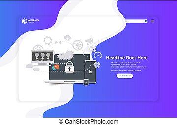 Flat Design Website Landing Seite Vektor Vorlage.