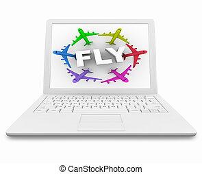 Fliegen Sie Wort und Flugzeuge auf dem weißen Laptop-Computer.
