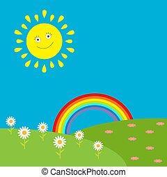 flowers., sonne, regenbogen, landschaftsbild