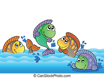 fluß, süßwasser, reizend, fische