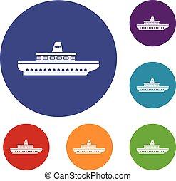 Fluggastschiff-Icons eingestellt.