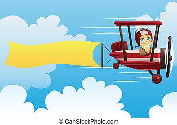 Flugzeug trägt Banner