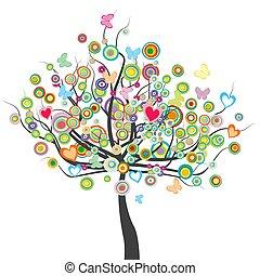 form, leaves.eps, vlinders, blumen, kreis, gefärbt, baum