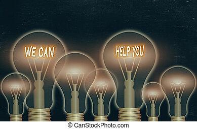 foto, wir, kunden, unterstützung, oder, friends., text, angebot, buechse, guten, hilfe, you., begrifflich, ausstellung, zeichen