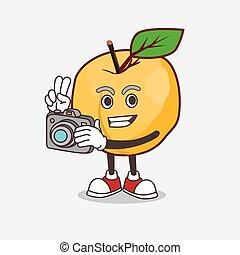 fotoapperat, aktiv, zeichen, karikatur, fotograf, maskottchen, aprikose