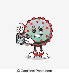 fotoapperat, zeichen, karikatur, aktiv, virus, maskottchen, fotograf