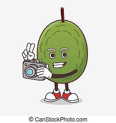 fotograf, maskottchen, fotoapperat, jackfruit, karikatur, aktiv, zeichen