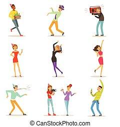 Fröhliche Charaktere feiern, tanzen und amüsieren sich an einem Geburtstagsfest mit bunten Charakteren Vektor Illustrations.