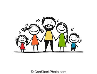 Fröhliche Familie zusammen, Sketch für Ihr Design