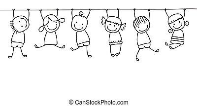 Fröhliche Kinder spielen.