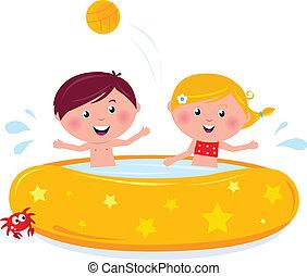 Fröhliche lächelnde Kinder im Swimmingpool, Sommer-Illustrations Cartoon Vektor.