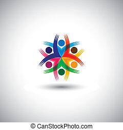Fröhliche Mitarbeiter & Führungskräfte Einheit & Vielfalt - Vektorgrafik. Diese Abbildung repräsentiert auch Studentengemeinschaft, Gewerkschaft, Kinderspiele, aufgeregte Menschen, Freundschaft, Treffen