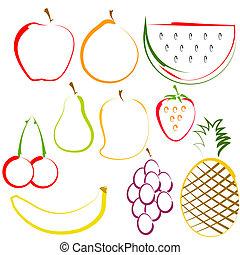 Früchte in Linienkunst