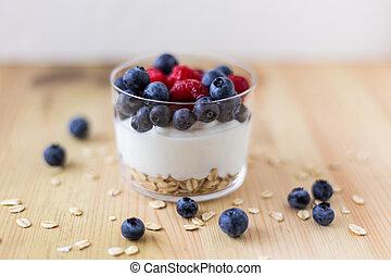 früchte, rotes , griechischer , joghurt