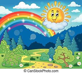 Frühlingsthema mit fröhlicher Sonne.