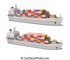 Frachtschiff auf weißem Hintergrund