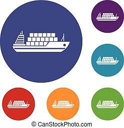 Frachtschiff-Ikonen bereit.