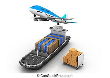 Frachtschiff und Fluggesellschaft