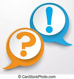 Frage-Antwort-Blasezeichen