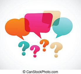 frage, bubles, vortrag halten , markierung