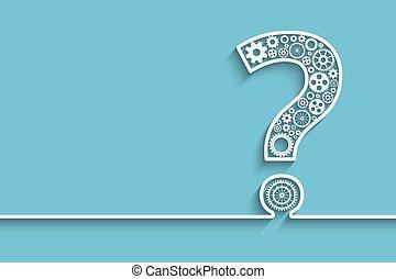 frage, zahnräder, markierung