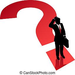 Fragen Mark Business-Man-Entscheidungsproblem.