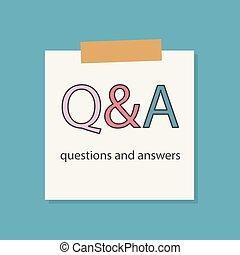Fragen und Antworten in einem Notizbuch.
