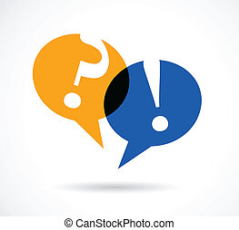 Fragen und Antworten mit Sprachblasen.