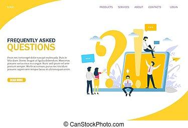 fragen, vektor, schablone, design, website, frequently, fragte, seite, landung