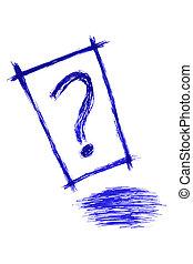 Fragezeichen - blauer Streifen.