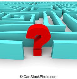 Fragezeichen im blauen Labyrinth