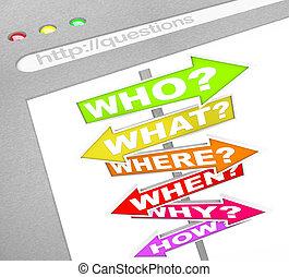 Fragezeichen online - Web-Screen wer was wohin