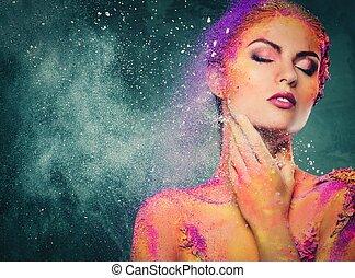 Fragilität einer menschlichen Kreatur konzeptionelle Körperkunst bei einer Frau.