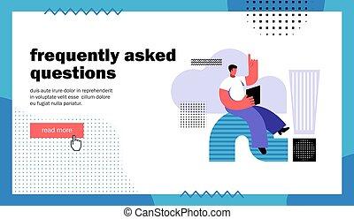 fragte, seite, landung, fragen, website, frequently