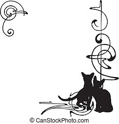 Frame mit einem Muster und Katzen