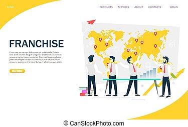 Franchise Vektor Website Landing Page Design Vorlage