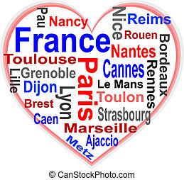 Frankreichs Herz und Worte trüben mit größeren Städten