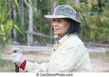 frau, altes , asiatisch, landwirt
