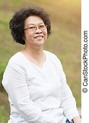 frau, asiatisch, senioren