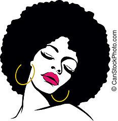 frau, haar, hippie, kunst, afro, knall