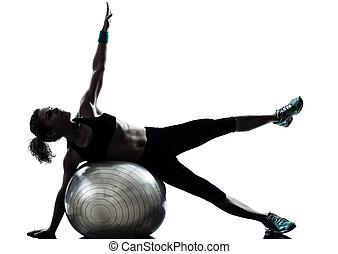 frau, kugel, workout, fitness, trainieren