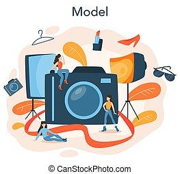frau, modell, darstellen, kleidung, mode, neuer mann, concept.