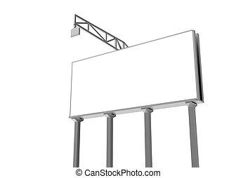 freigestellt, billboard., leer, white., 3d, ausschnitt, rendering., path.