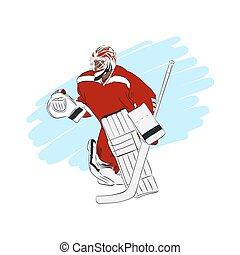 freigestellt, eis, vektor, abbildung, torwart, hockey