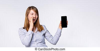 freigestellt, format., leute, beweglich, schreien, schirm, halten, hintergrund., leer, verhöhnen, langer, aufrichtig, banner-, gefuehle, kopie, leerer , graue , schwarz, lebensstil, space., anzeige, auf, frau, aufgeregt, telefon