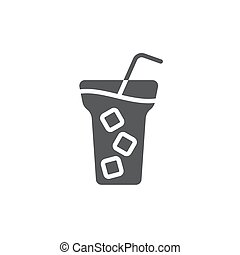 freigestellt, symbol, eiswürfel, getränk, vereiste, hintergrund, vektor, weißes, ikone, bohnenkaffee
